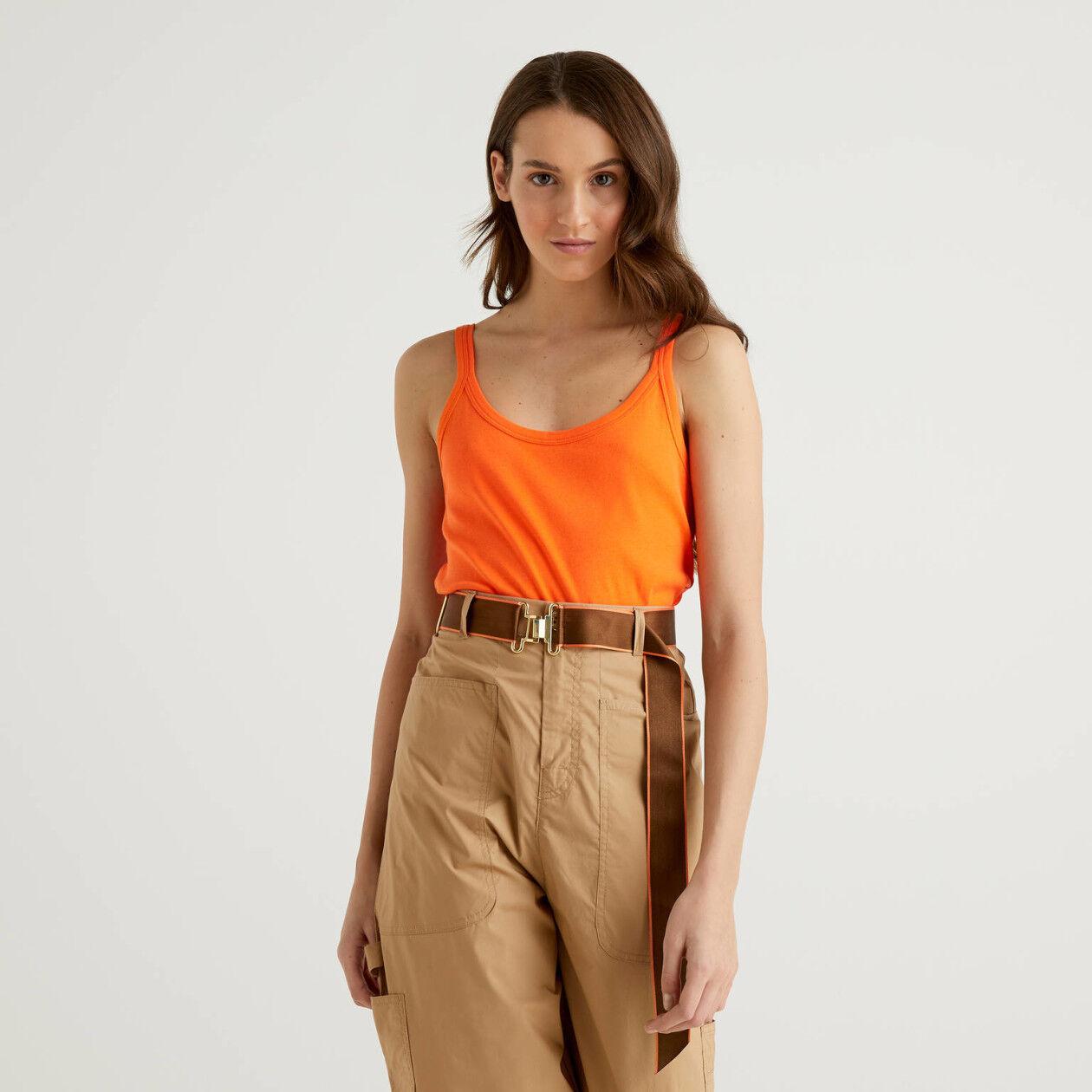 Débardeur orange en pur coton