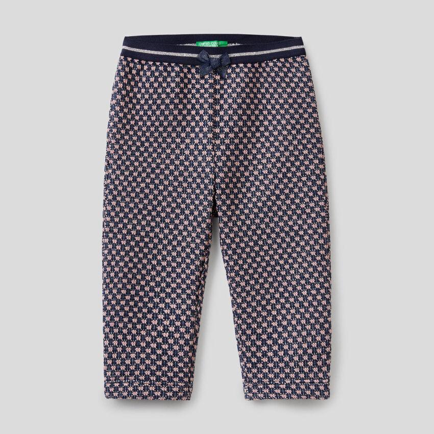 Pantalon avec motif géométrique bicolore