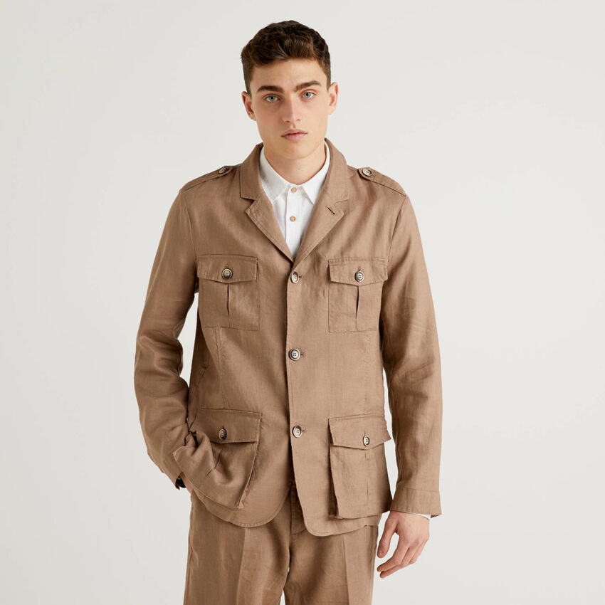 Veste en pur lin avec poches