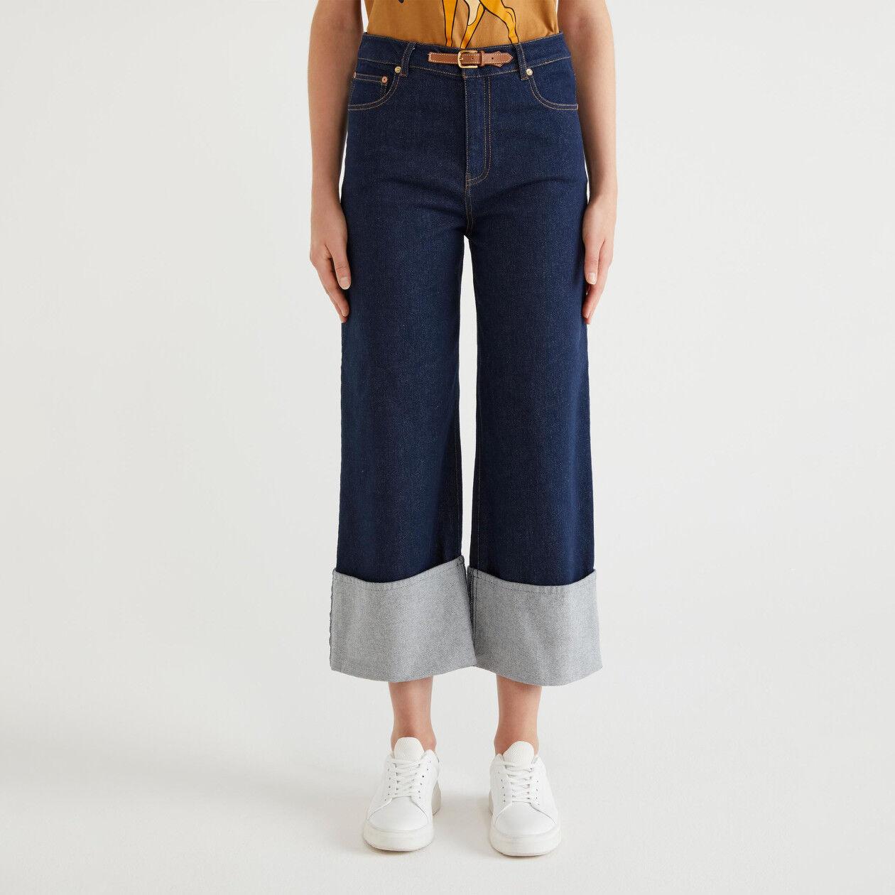 Pantalon en denim avec revers