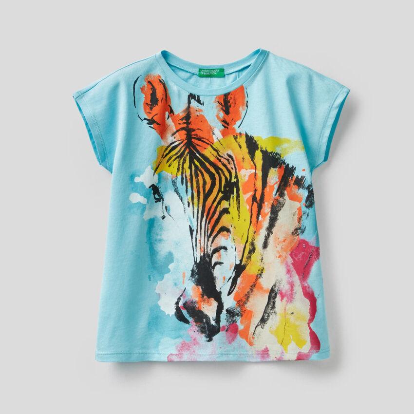 T-shirt avec imprimé zèbre multicolore