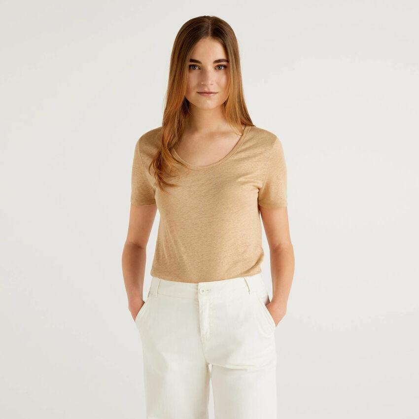 T-shirt col rond en pur lin