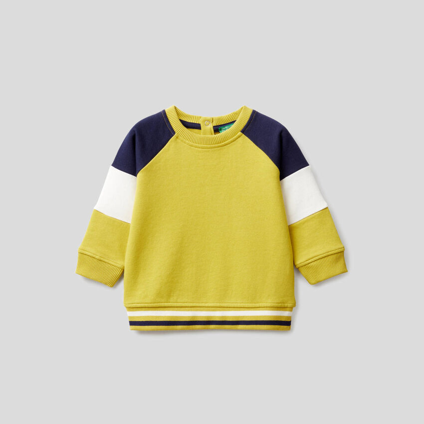 Sweat jaune avec manches color block
