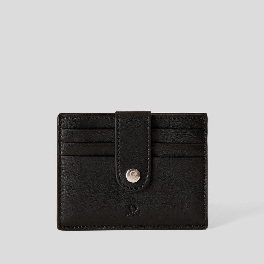 Portefeuille compact en cuir véritable