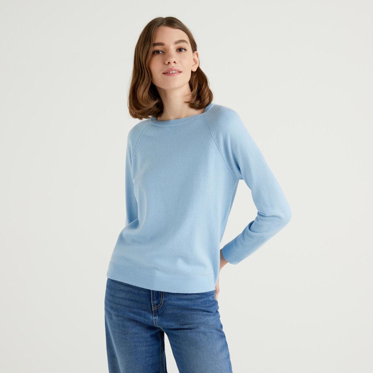 Pull col rond bleu clair en mélange de laine et cachemire