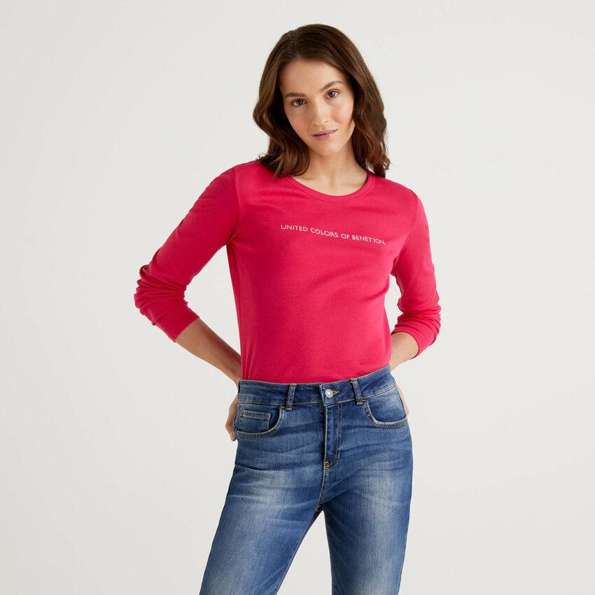 T-shirt cyclamen à manches longues 100% coton