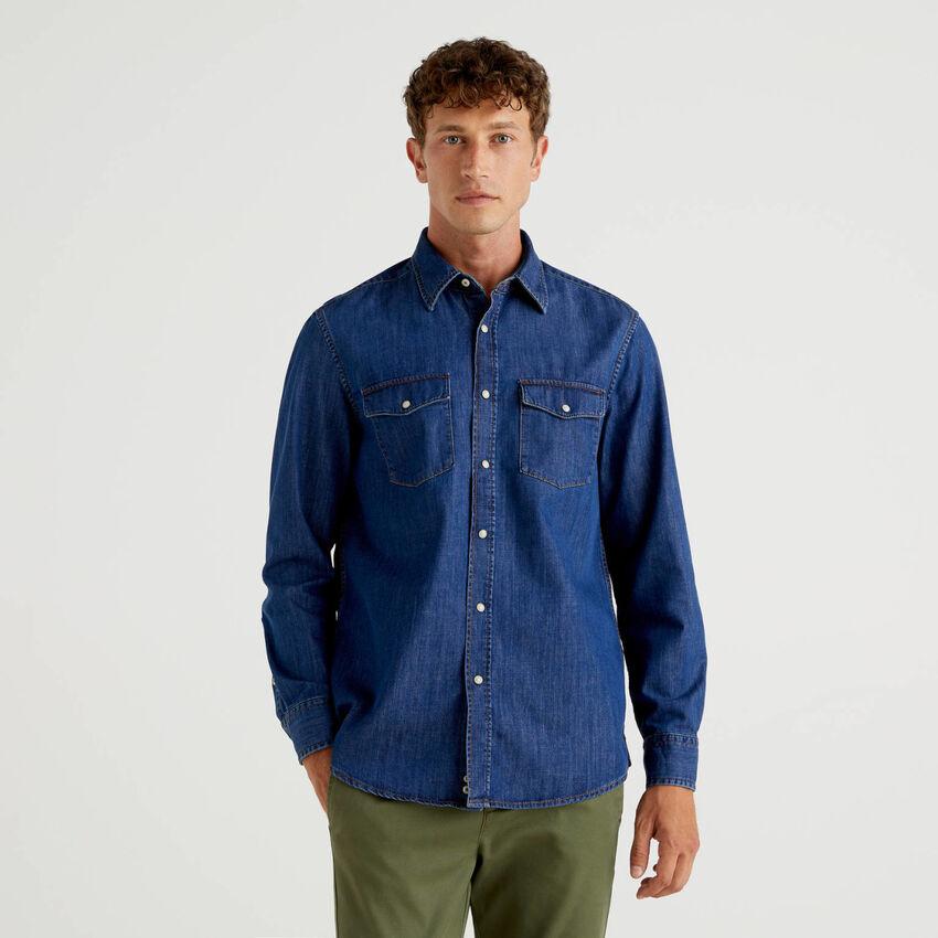 Chemise en jeans de pur coton