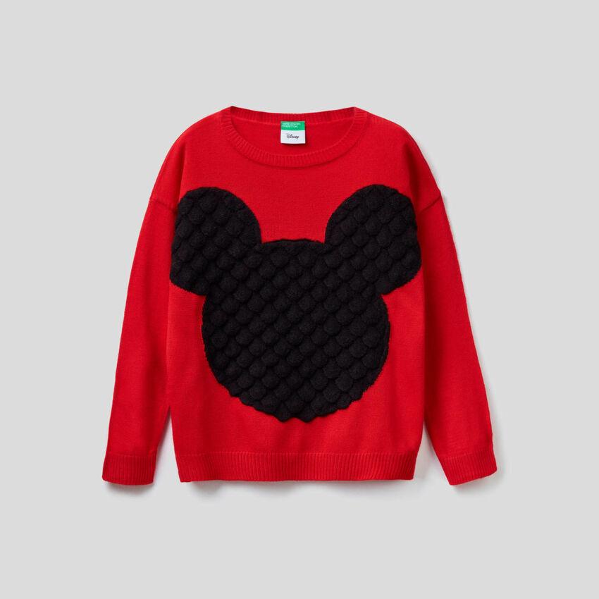 Pull à intarsia Mickey en relief