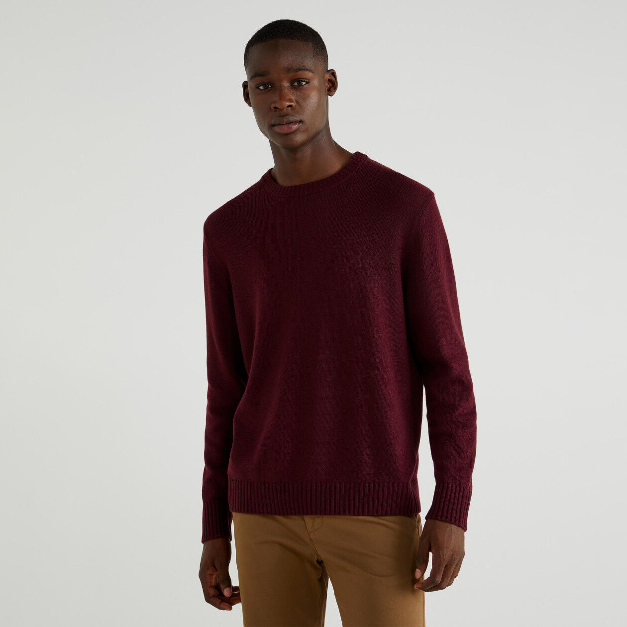 Pull col rond mélange cachemire