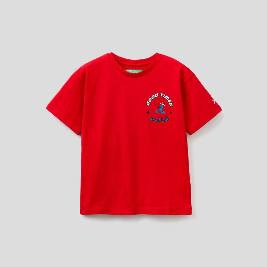 T-shirt unisexe rouge avec imprimés by Ghali