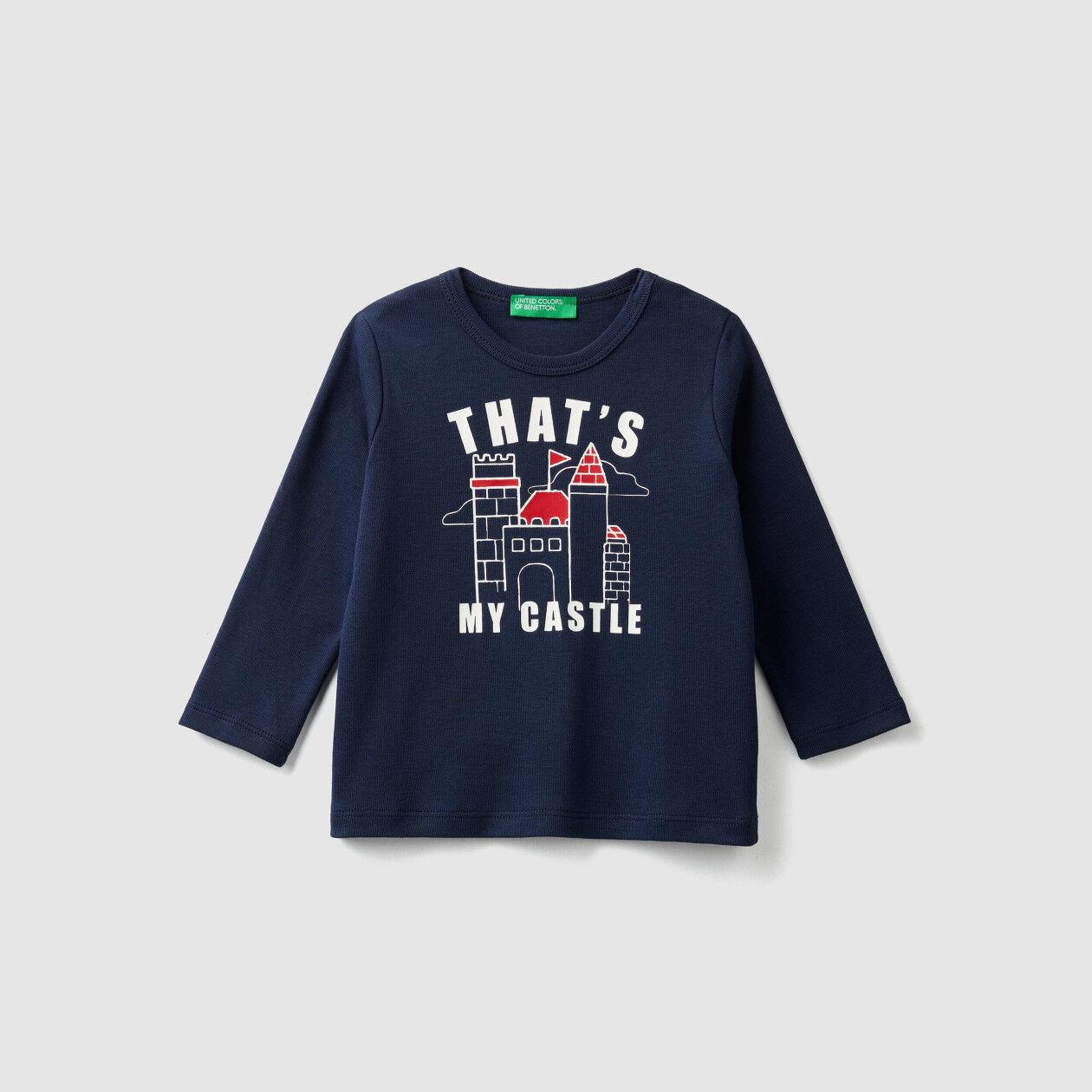 T-shirt à côtes avec imprimé
