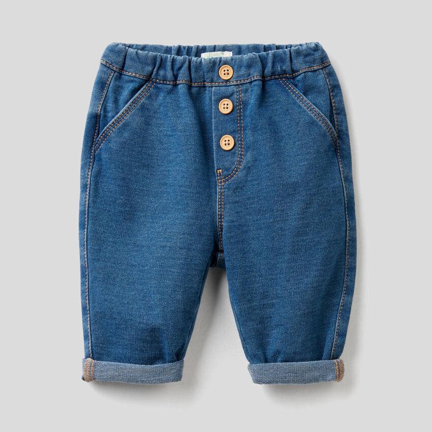 Pantalon en molleton stretch effet denim