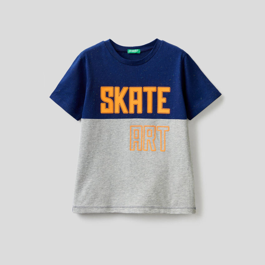 T-shirt bicolore avec imprimé