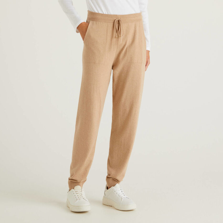 Pantalon de jogging camel en cachemire mélangé