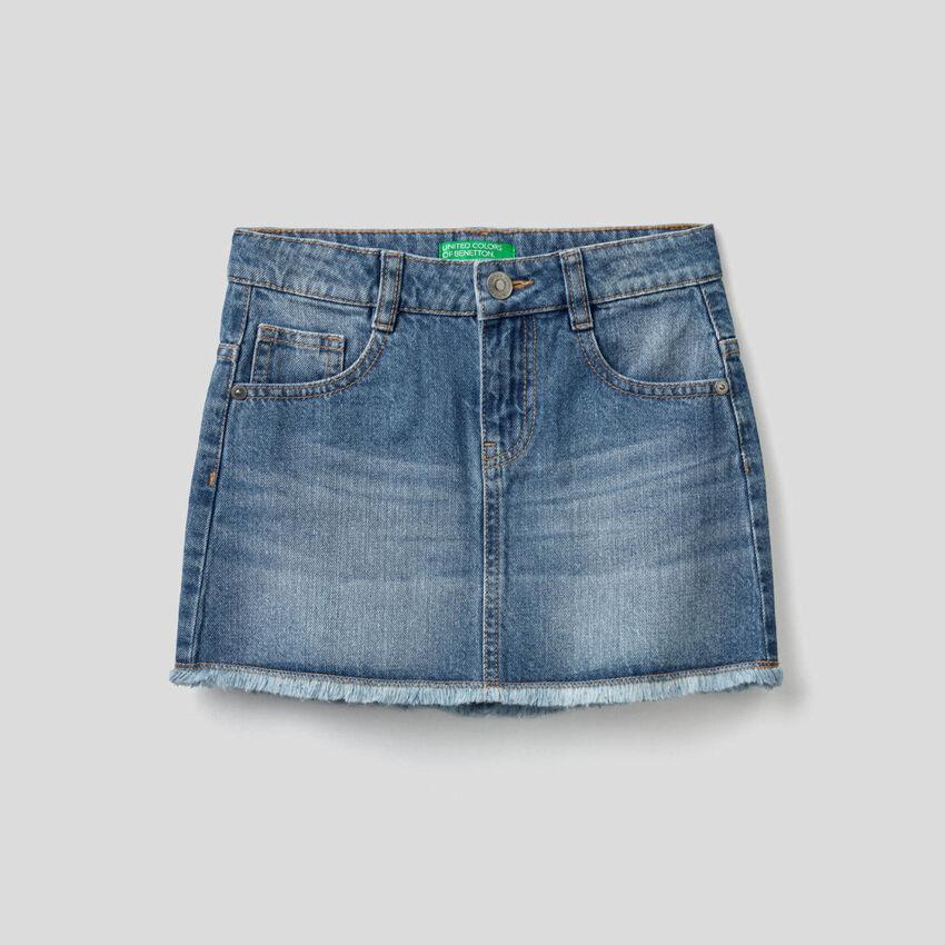 Jupe en jeans avec aspect usé