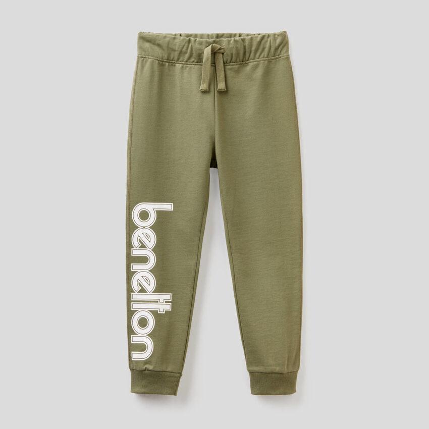 Pantalon en molleton 100% coton avec logo