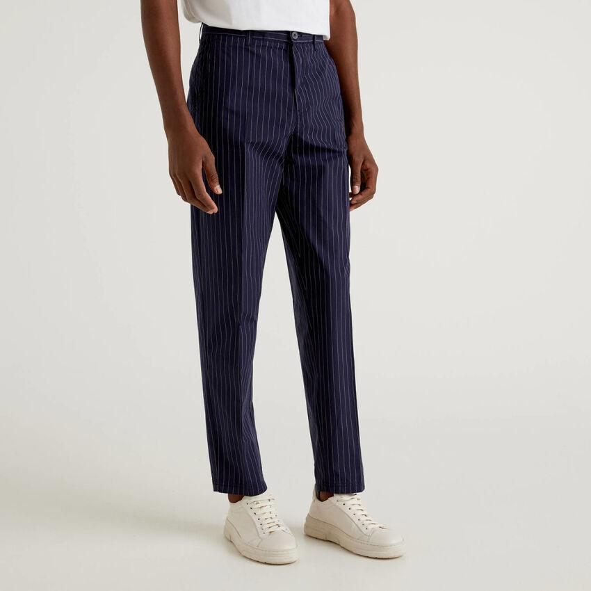 Pantalon à rayures tennis en pur coton