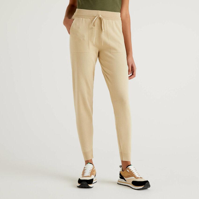 Pantalon avec cordon de serrage en coton