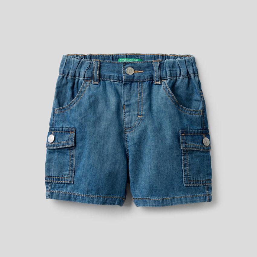 Bermuda cargo en jeans léger