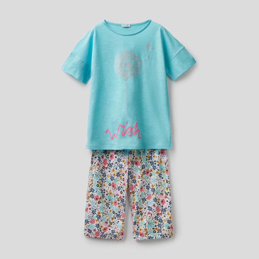 Pyjama imprimé avec pantalon cropped