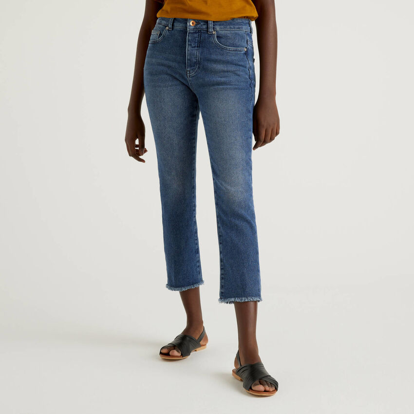 Jeans cropped cinq poches