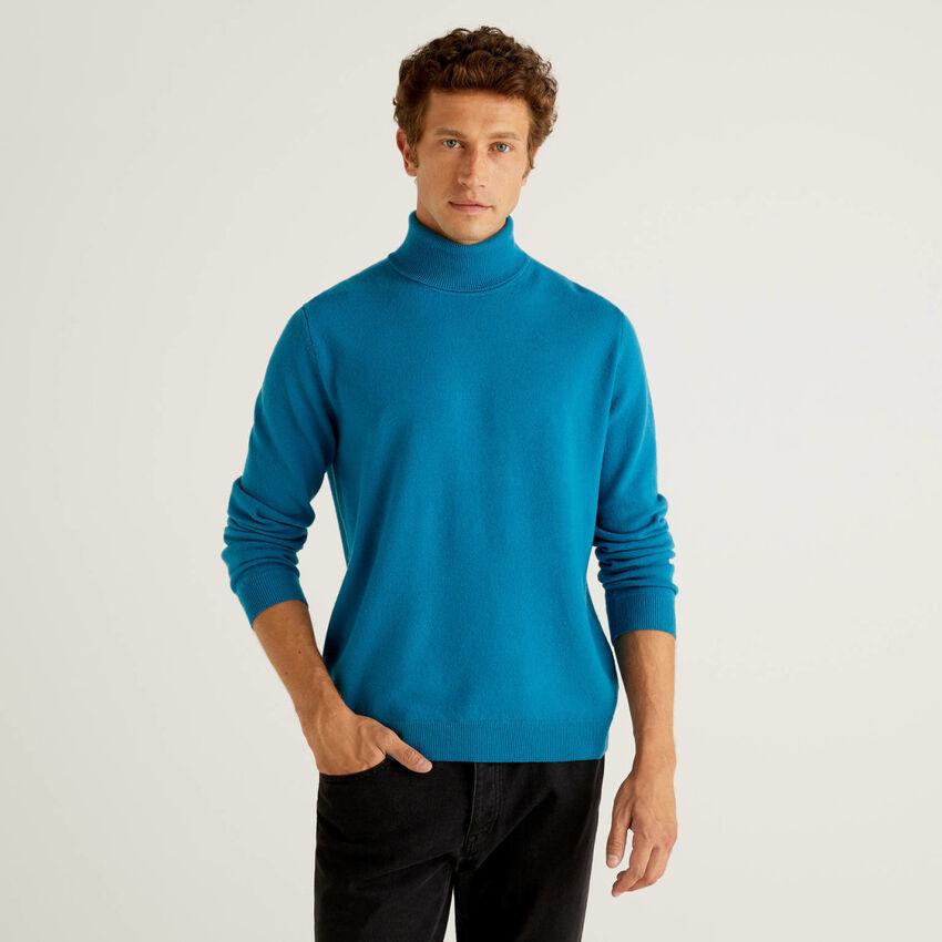 Pull bleu sarcelle col roulé en pure laine vierge