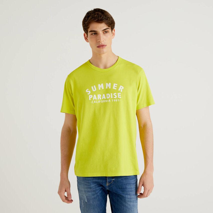 T-shirt citron vert 100% coton avec imprimé