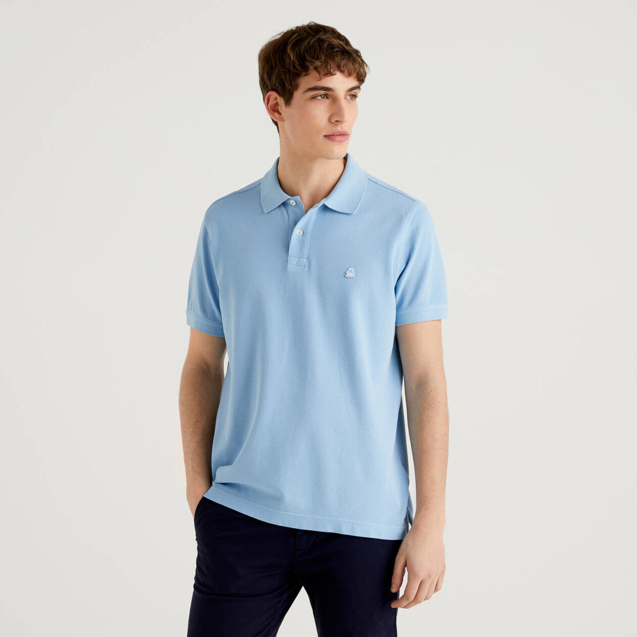 Polo bleu clair coupe regular