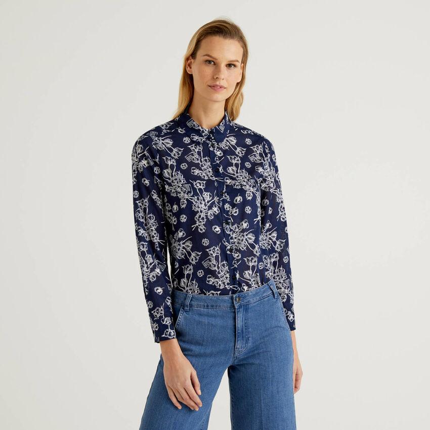 Chemise bleu avec imprimé à fleurs 100% coton