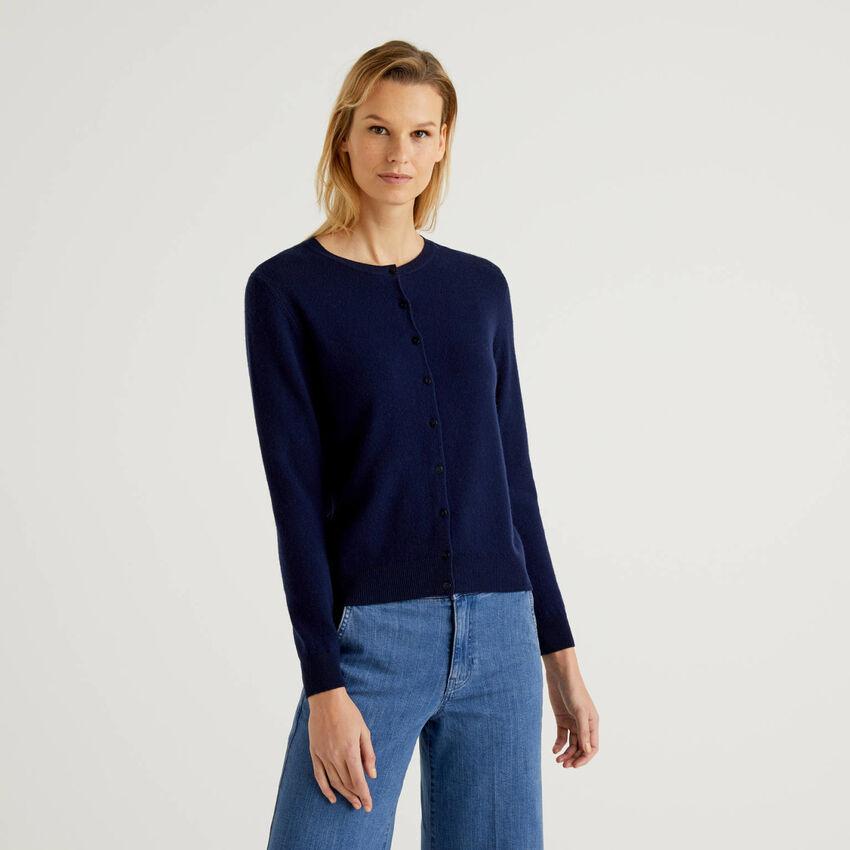 Gilet bleu foncé col rond en pure laine vierge