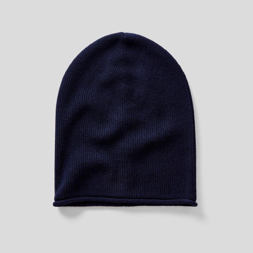 Bonnet en mélange de laine à bords-côtes