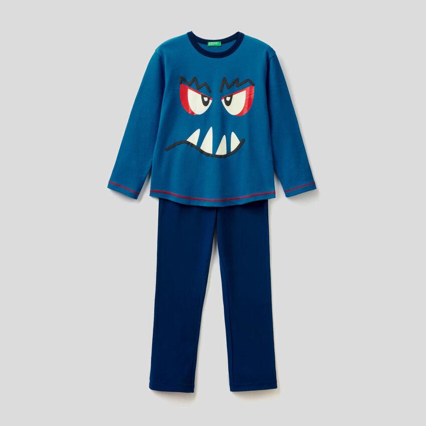 Pyjama en pur coton avec imprimé