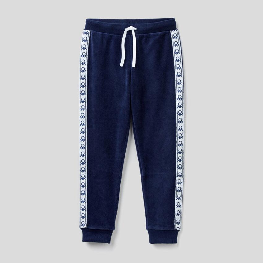 Pantalon en chenille avec bandes siglées