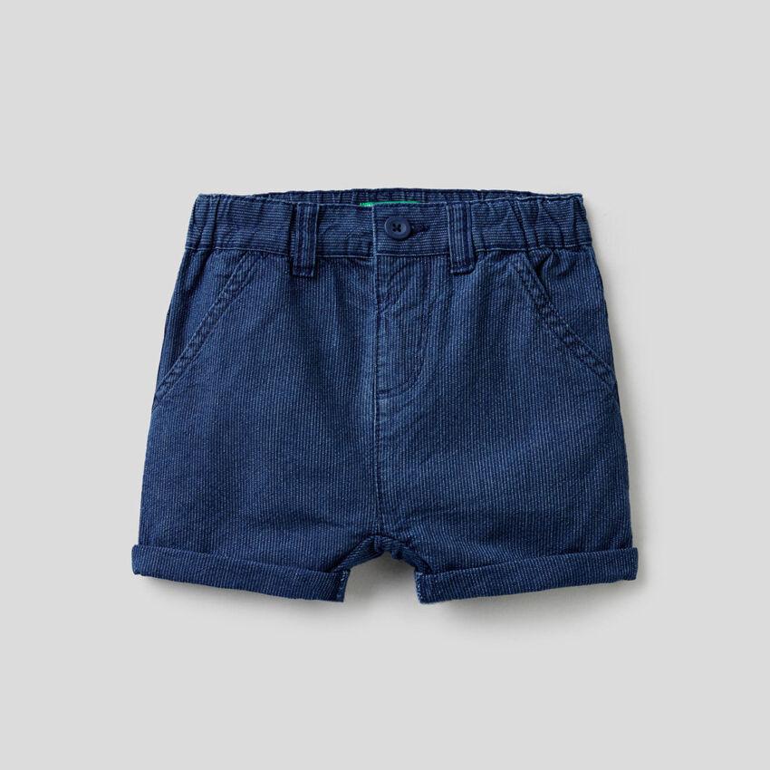Short en jeans rayé