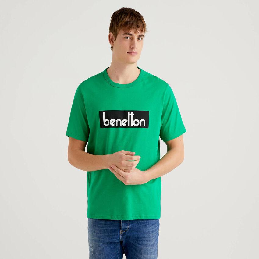 T-shirt vert avec logo imprimé
