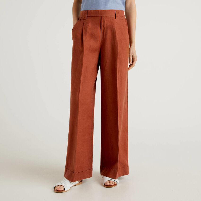 Pantalon ample 100% lin