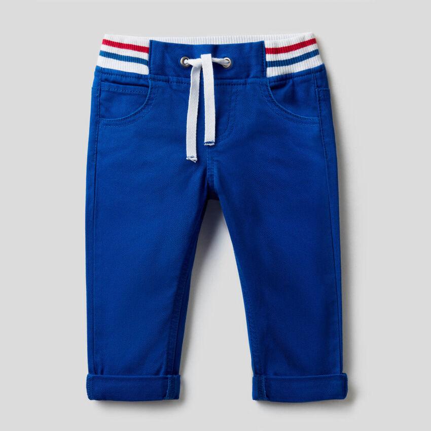 Pantalon avec cordon de serrage en coton stretch