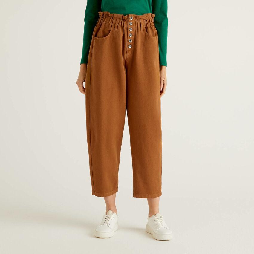 Pantalon à taille haute en 100% coton