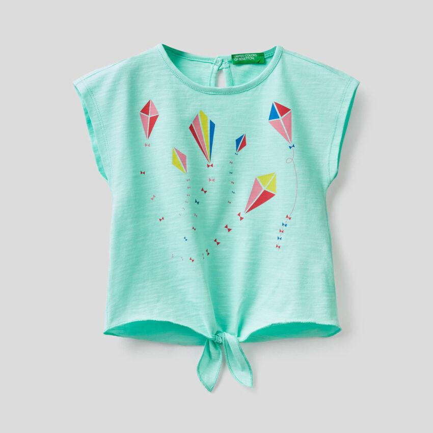 T-shirt 100% coton avec noeud en bas