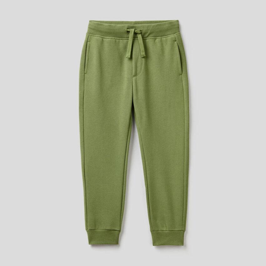 Pantalon slim vert militaire en molleton