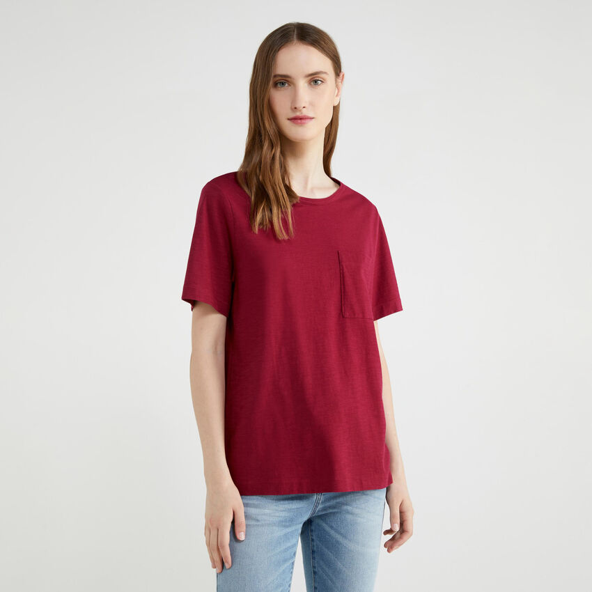 T-shirt uni avec pochette