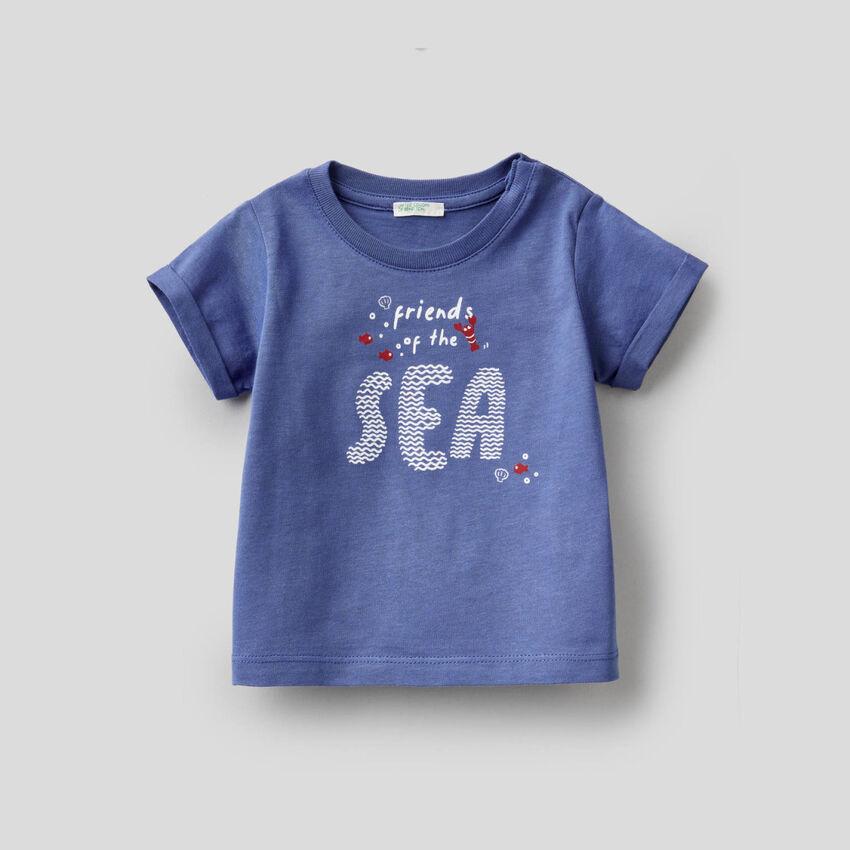 T-shirt bleu horizon en coton bio