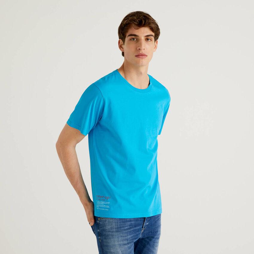T-shirt bleu 100% coton avec imprimé