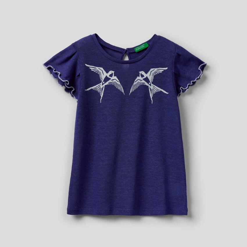 T-shirt avec manches à volants