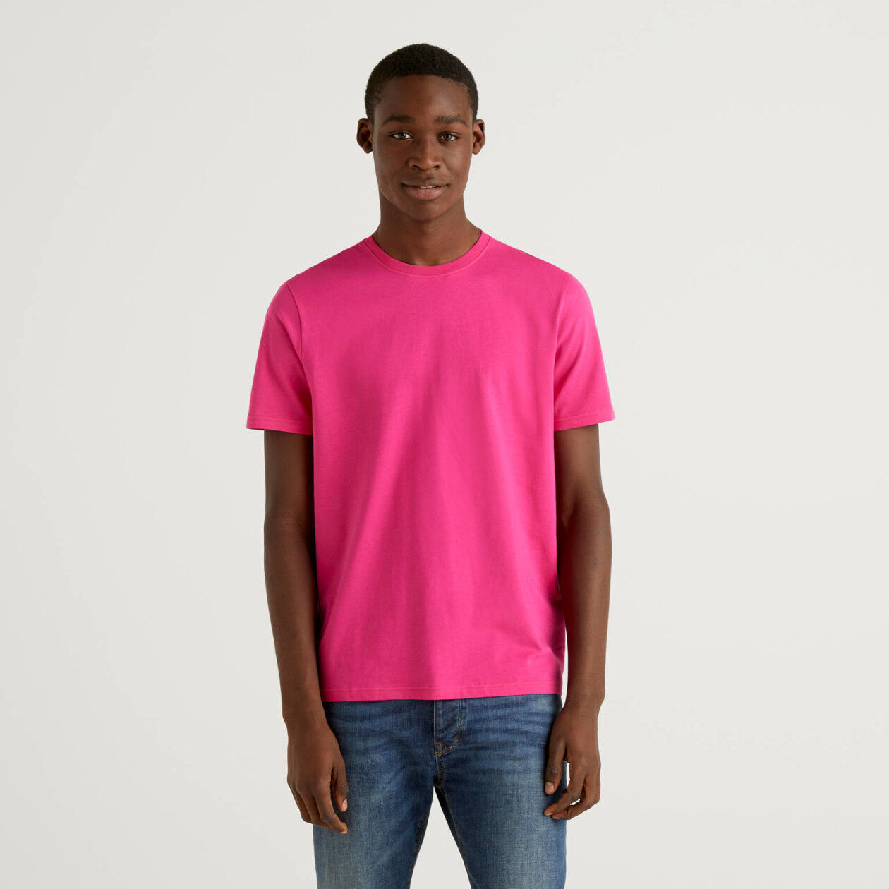 T-shirt fuchsia en pur coton
