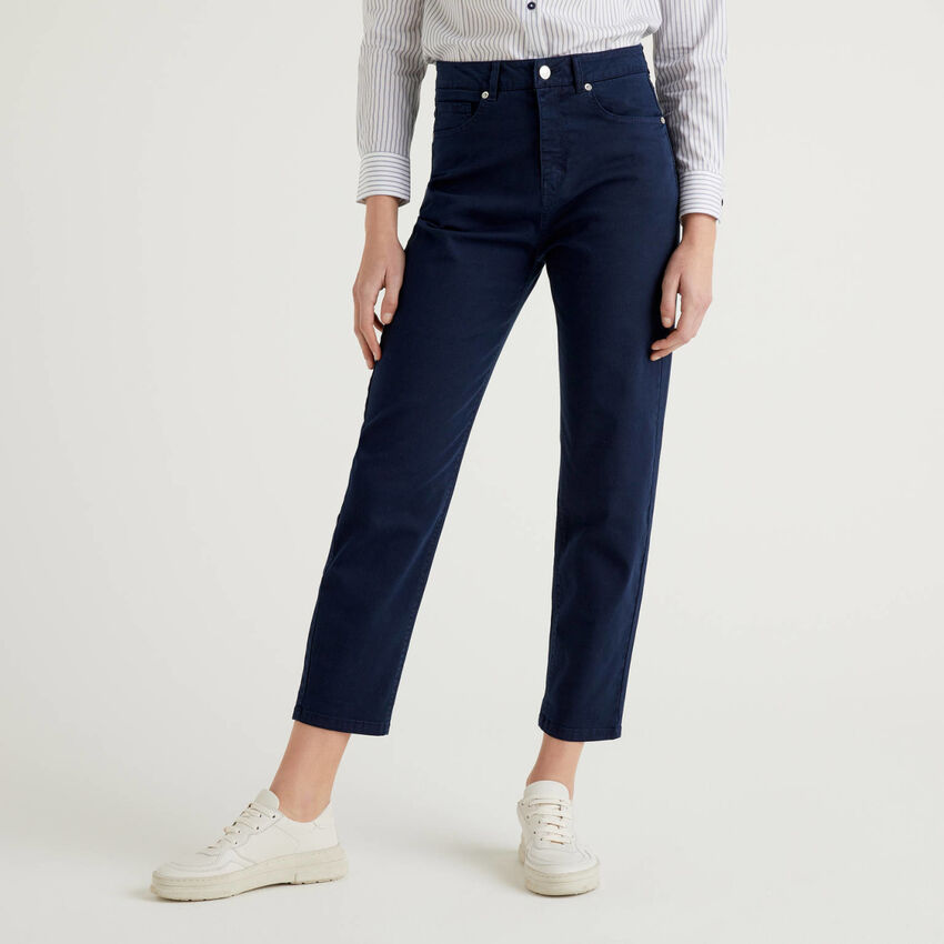 Pantalon boyfriend en coton stretch