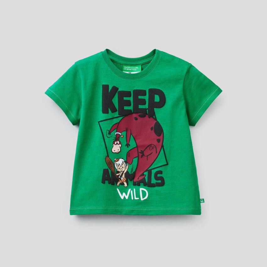 T-shirt vert avec imprimé la Famille Pierrafeu