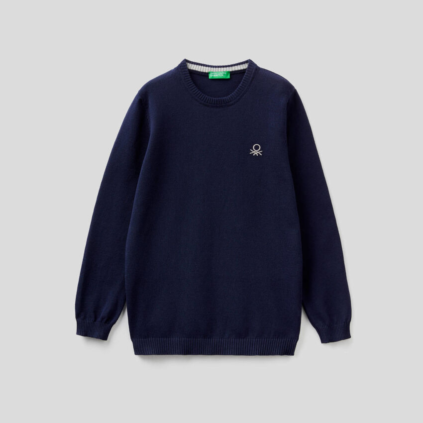 Pull en pur coton avec logo