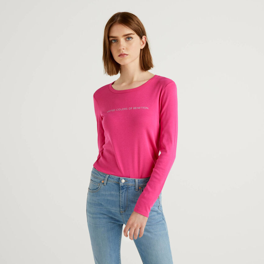 T-shirt fuchsia à manches longues 100% coton