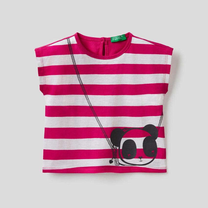 T-shirt à rayures avec imprimé